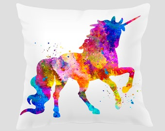 Unicorn #3 Throw Pillow, Watercolor Unicorn Pillow, Pillow Cover, Accent Pillow, Nursery Decor, Kids Room Decor