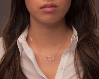 Sterling Silver Interlocking Circles Necklace, Intertwined Circles Necklace, Two Circles Necklace, Infinity Necklace, Circles Pendant