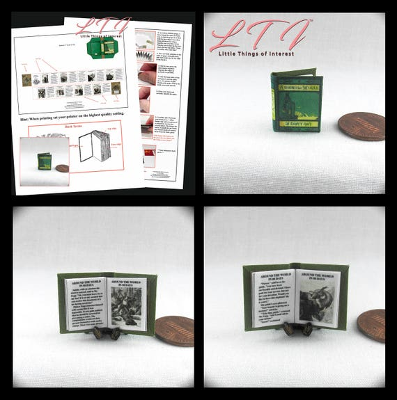 Kit AROUND The WORLD In EIGHTY Days Book Kit Pdf Tutorial Dollhouse Miniature Book 1:12 Scale Book Novel Jules Verne 1873