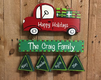 Personalized family Christmas, Holiday sign