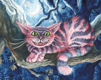 Cheshire Cat Archival Art Print Of Original Watercolor Painting, Watercolor Alice In Wonderland Painting, Wall Art For Children's Room