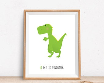 Dinosaur Print, Digital Poster, Children's Wall Art, Modern Decor, Illustration, Dino, Boy's Decor, T-Rex, Nursery