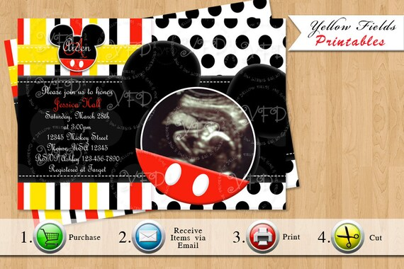 Items similar to mickey mouse baby shower invitation mickey mouse items similar to mickey mouse baby shower invitation mickey mouse baby shower red yellow black printables style 6 you print on etsy filmwisefo