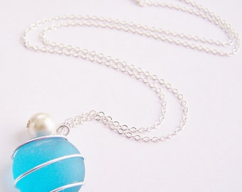 Seaglass Bridesmaids sets - Bahama Blue Necklace - Glass Pearl - Other Colors - Earrings available - Weddings - affordable - seaside