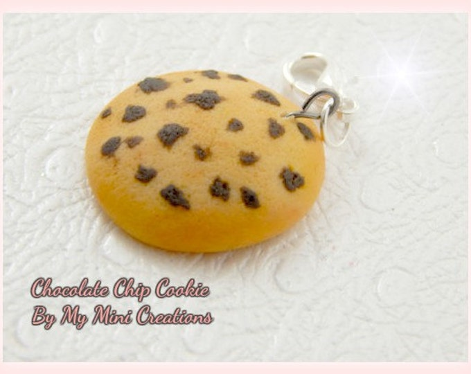 Chocolate Chop Cookie Charm, Miniature Food, Miniature Food Jewelry, Polymer Clay