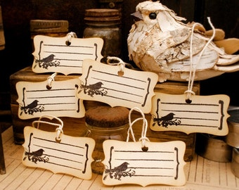 Black Bird Journaling Tags Vintage Style Hand Stamped Set of 6
