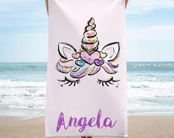 Custom name towel, Personalised beach towel Personalized beach towel for girls, Unicorn face beach towel, Unicorn towel, Unicorn beach towel