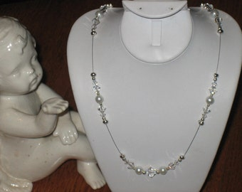 Wedding Bridal Necklace Set With Porcelain Box, Hand Crafted, Gift Idea, Something New, FREE SHIPPING