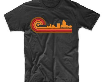 Retro Style Winston-Salem North Carolina Skyline T-Shirt