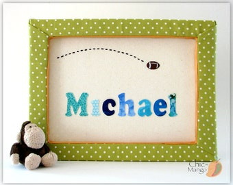 Football Decor, Baby Gift For Boy, Personalized Kids Wall Art, Nursery Name Sing, Framed Art for Kids, Wall Art for Boys, Green Kids Room