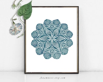 DOILY 1 IN TEAL - digital image download - printable vintage image for transfer - totes, pillows, prints, fabric, towels, tags, wall decor