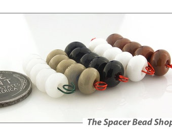 NICELY NEUTRAL HALF Bead Sets Lampwork Spacers Glass Handmade - The Spacer Bead Shop