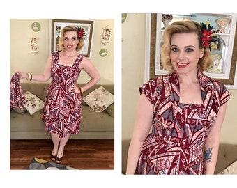 1940s Novelty Print Surfriders Tiki Dress and Bolero