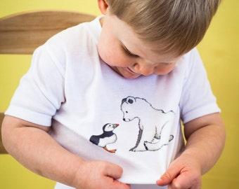 Toddler T Shirt, Puffin, Polar Bear Shirt, Cute Toddler Clothes, Cute Kids Clothes, Winter Kids Clothes, Christmas Gift