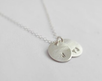 Tiny oval disc charms, Initially yours (necklace) - Two tags, hand stamped initial and sterling silver