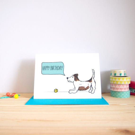 Happy birthday card jack russell card dog birthday card like this item bookmarktalkfo Image collections