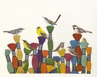 Yarn garden.  Limited edition print of an original collage by Vivienne Strauss.