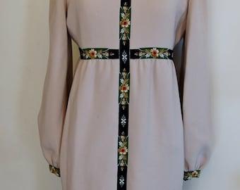 Vintage Donald Brooks Beige Wool Dress