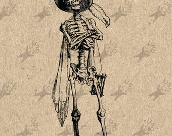 Illustration Halloween Skeleton Hat image Instant Download Digital printable clipart graphic Burlap Fabric Transfer Iron On Decor  HQ 300dpi