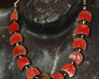 Red raku necklace with Central Medal