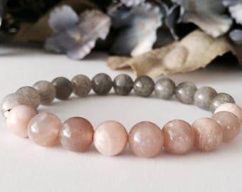 Sunstone Bracelet, Labradorite Bracelet, Mala, Gemstone Bracelet, Beaded Bracelet, Bracelets for Women, Women's Jewelry
