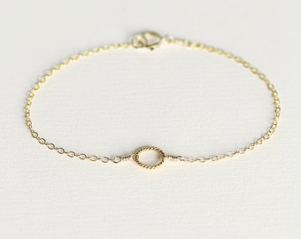 Eva - 14k gold circle bracelet - dainty gold bracelet - tiny circle bracelet - eternity bracelet - bridesmaids jewellery