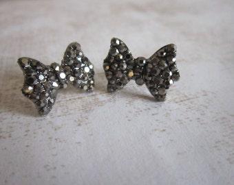Gunmetal Rhinestone Crystal Bow Stud Earrings
