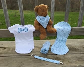 Baby Boy Gift Set - Blue Polka Dot