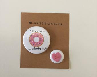 Valentine's Day 2 button set- sweet treats