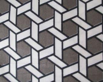 "Gray and White Lattice Trellis  1.25 Yards Waverly ""Shoji"" Mid Century Modern Home Decor"