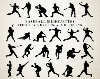 Baseball Silhouette Clipart Clip Art PNG Vector SVG DXF