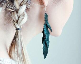 Dark green suede leather Feather Earrings, layered earrings, tribal Earrings, Boho earrings, dangle earrings, long earrings