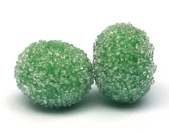 NEW - Nile Green Sugar Bead Pair Lampwork Glass
