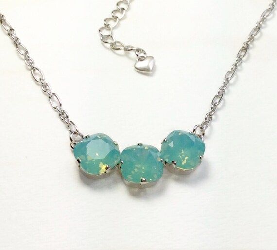 Swarovski Crystal Necklace 12MM Cushion Cut - Three Crystal Necklace Designer Inspired - Pacific Opal -  Sparkle & Shimmer - FREE SHIPPING