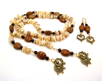 Sahara Sands Y Necklace Featuring Landscape Jasper, Brown Tiger's Eye and Cream Mother of Pearl - Lanyard Pearl Necklace