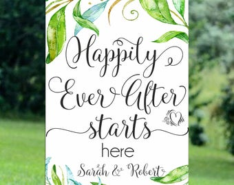 Wedding Happily Ever After  Wedding Sign Printable  Wedding Sign Digital Wedding sign   Personalized Wedding Sign