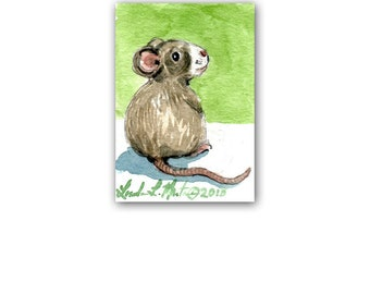 Field Mouse New Mom Spring by llmartin Original ACEO Watercolor Baby Nursery Free Shipping USA Mice