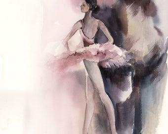 Original Watercolor Painting of Ballerina, Watercolour Art, Dancer, Ballet Art, Ballet Painting, Modern Art