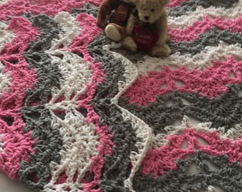 Lacy Crochet Baby Afghan, Pink, Grey and White Crochet Baby Afghan, Baby Girl Crib Blanket, Lacy Chevron Baby Afghan, Baby Shower Gift