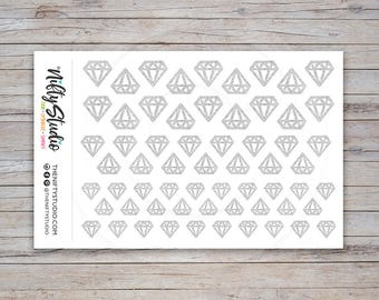 Silver Glitter Diamond Stickers   Planner Stickers   The Nifty Studio [117]