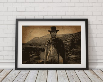 """LARGE SIZE Clint Eastwood """"The Good The Bad And The Ugly"""" / Vintage Movie Poster / Vintage Movie Print / Old Western / Clint Eastwood"""