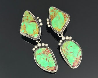 Magnificent Green Turquoise Native American Earrings Signed - Rosella Sandoval (Apache)