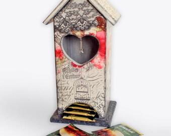 Wooden tea storage, Tea bags holder, Tea organizer, Kitchen decor, Tea bags storage, Tea box, Tea bag box, Tea house, Housewarming gift