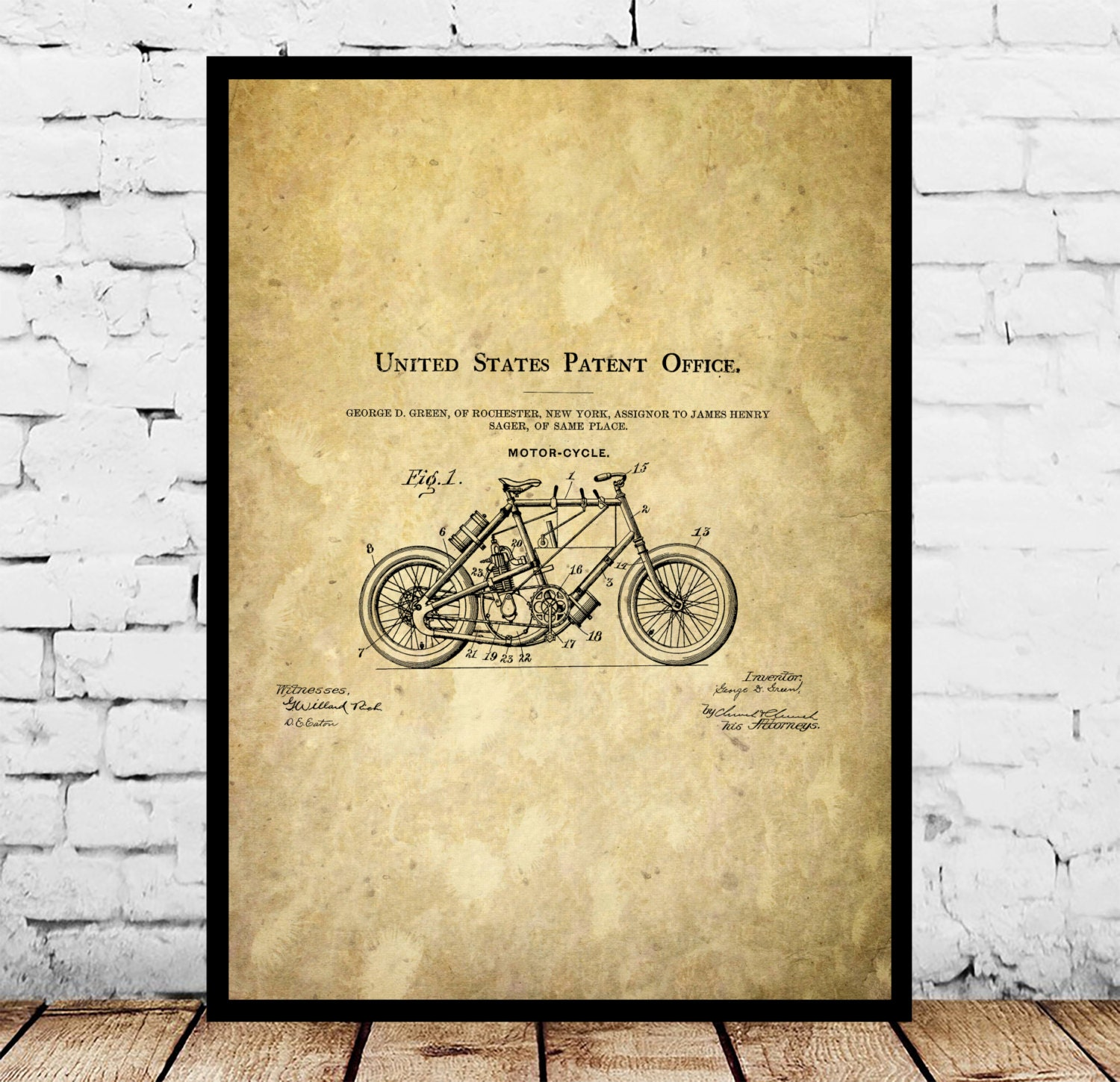 Motorcycle Blueprint Patent Poster, Wall Art Poster, Motorcycle ...