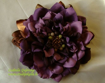 Handmade purple - violet satin flower brooch from collection Kleopatra, flower clip & pin