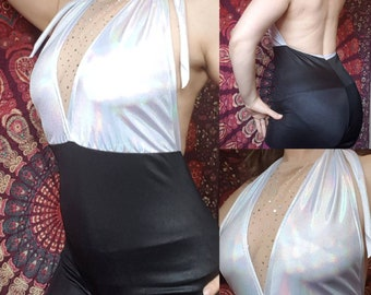 Space Cadet Romper Holographic Bodysuit Pre-made Ready to Ship Medium