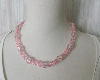 Pink choker necklace, glass necklace, summer necklace, pretty necklace, crackle glass necklace, princess necklace, festival jewellery