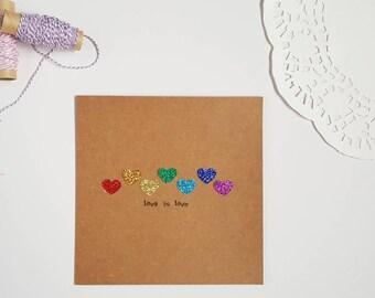 Love Is Love Card, Wedding Day, LGBTQ Wedding Card, Just A Card, Kraft Card, Rainbow Card, Rainbow Love Card, Blank Inside Greeting Card