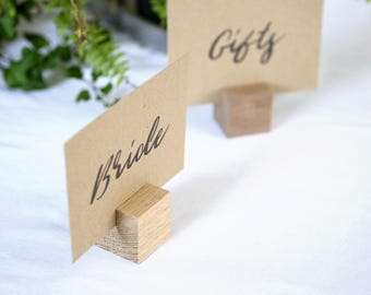 10 x  Wood Place Card Holders | Timber Table Talkers | Name Card Holders | Wood Table Numbers | Table Card Holders | Rustic Wedding