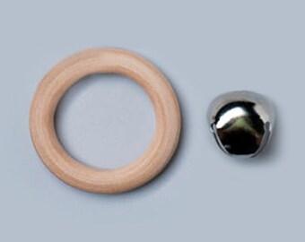 Bague en Bois (Sucette / dentition) et ruban Set-Montessori Inspired Bébé point Toys-vente de Bell